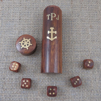 Dice Game- Nautical Gifts- Boating- Anchor Personalized Bar Game (BB-1112)
