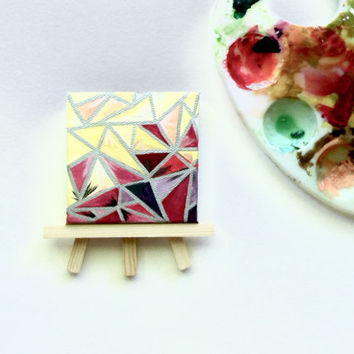 Geometric Triangles- Hand Painted Miniature Square Canvas- Wooden Stand Included