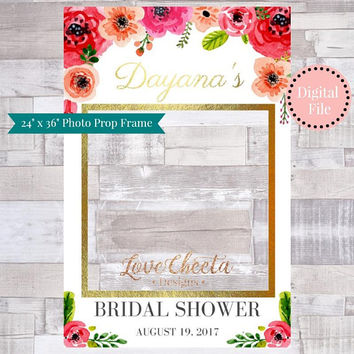 Bridal Shower Photo Frame Prop, Printable DIY Floral Gold Glitter Photo Booth Frame