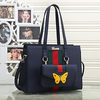 Gucci Butterfly Letter Women Leather Satchel Handbag Tote Shoulder Bag