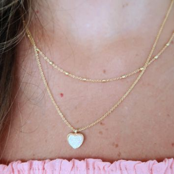 Oh My Heart Necklace: Gold/Opal