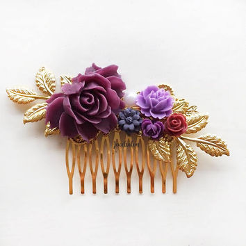 Purple Wedding Comb, Gold, Plum, Maroon, Red, Violet, Lavender, Bridal Hair Clip, Flower Hair Pin, Personalised Bridesmaid Gift, Hair Slide