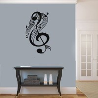 Housewares Vinyl Decal Treble Clef with Musical Note Pattern Home Wall Art Decor Removable Stylish Sticker Mural Unique Design for Room 212
