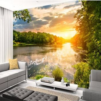 beibehang Customized Wallpapers 3 Tianhe Landscape Sunset 3D Photo Wallpaper Mural Living Room TV Background Wall