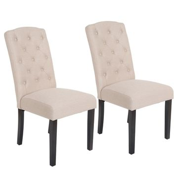 Costway Set Of 2 Accent Dining Chair Fabric Wood Tufted Modern Living Room Furniture | Overstock.com Shopping - The Best Deals on Dining Chairs