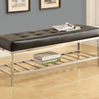 "Black Leather-Look / Chrome Metal 48""L Bench"
