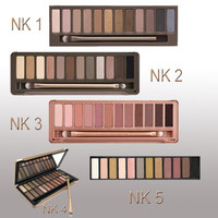 Hot 1 set Eye Shadow to eye New Nake Makeup Eyeshadow Palette 12 colors NK 1 2 3 4 5 Make up tools Set with eyeshadow brushes