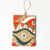 Ceramic Plate/ Evil Eye Plaque/ Small Wall Plaque/ Evil Eye Ceramic Board/Gifts For Home Living