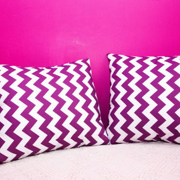Purple Chevron Pillow.20x20 inch.Decorator Pillow Covers.Printed Fabric Front and Back.Housewares.Home Decor.Cushions.cm