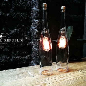 Bottle Lamp - Lighting - Industrial Style Clear Glass Extra Large Bottle Hanging Lamp, Kitchen chandelier, Wine bottle, Edison bulb, Light