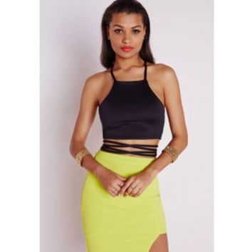 Cross Waist Strappy Crop Top Black - Tops - Missguided