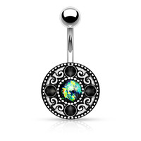 Tribal Fire Opal Green Belly Ring Navel Ring 14ga Surgical Steel Body Jewelry