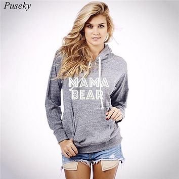 2016 Casual women Sweatshirt Hooded Hoodie Long Sleeve Sweatshirt Pullover Jumper Tops hipster Hoodie Letter MAMA BEAR