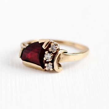 Vintage 1950s Ring - 10k Rosy Yellow Gold Created Ruby & White Spinel - Size 4 3/4 Dark Red Fancy Cut Triangular Stone Retro Fine Jewelry