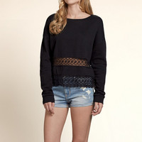 Lace Panel Crew Sweatshirt