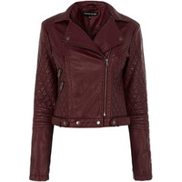 Warehouse Zip And Pu Quilted Biker Jacket