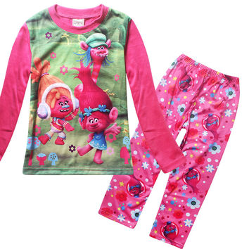 2017 New autumn hot sale Moana new cotton baby pajamas cute character children Trolls pyjamas kids baby clothing 2 pcs set
