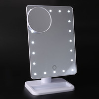 Makeup Mirror with Light Portable Table 20 LEDs Lamp Luminous 180 Rotating LED Light Table Mirror Cosmetic Magnifying Mirror