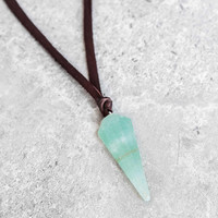 Aventurine Pendulum Leather Necklace