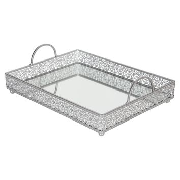 Vintage Large Rectangular Metal Mirror-Top Serving Tray (Silver)