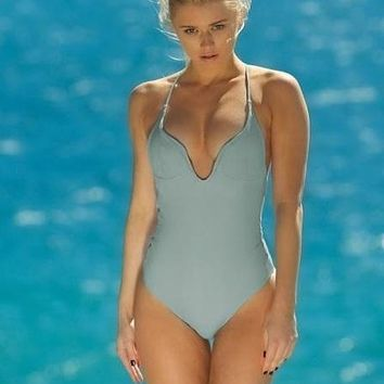 Elizabeth Jane Blue Smoke Halter One Piece