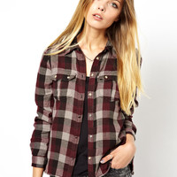 Noisy May Check Shirt With Contrast Turn Up Sleeves