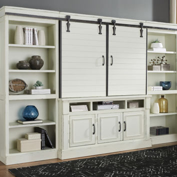 Ashley Furniture W723-30-34-34-36 4 pc Blinton antique white finish wood tv rustic style barn door entertainment center