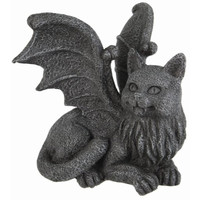 Winged Cat Gargoyle Computer Topper Shelf Sitter Statue