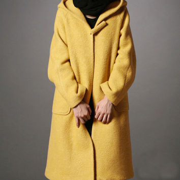 Gray /Black  / Yellow Wool coat women's Coat women dress coat Autumn Winter Spring--CO115