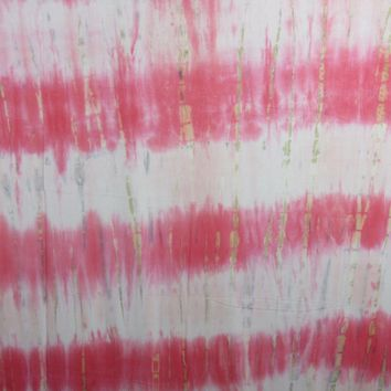 Tie Dye Fabric, Rayon Stretch Jersey Knit Coral Sunshine Color Print