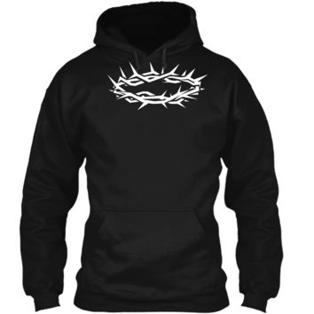 Christian Shirt - Jesus Crown of Thorn Good Friday & Easter Pullover Hoodie 8 oz