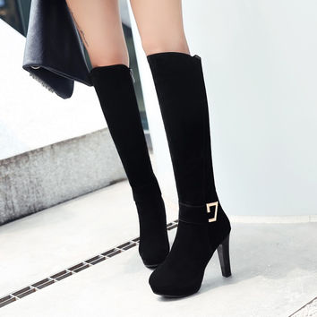 Black Flock Chunky High Heels Platform Tall Boots 4296