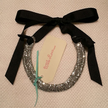 horseshoe-lucky silver glitter horse shoe with Black Grosgrain Ribbon with Gift Tag-wedding Gift-birthday, housewarming gift