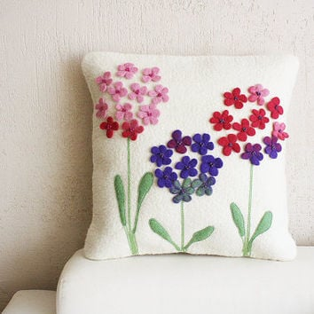 "Sunny home with mom""  Wool felted milk pillow cover with lovely,romantic purple flowers"
