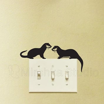 Two Otters Velvet Light Switch Sticker - Otter Laptop Decal -  Cute Wall Art - Nursery Decor -Animal Art - Vinyl Laptop Sticker - Otter Gift