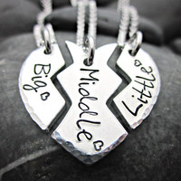 Big Sister - Middle Sister - Little Sister -  Interlocking Broken Heart Matching Necklaces