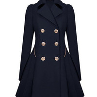 Notched Collar Buttoned Pleated Trench Coat