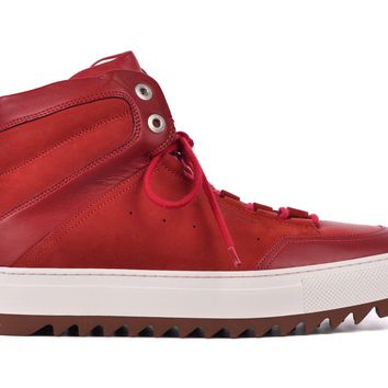 Salvatore Ferragamo Men Red Leather Laramie Gancini Sneakers