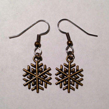 Bronze Snowflake Dangle Earrings