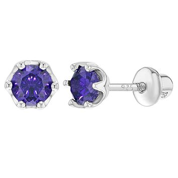 925 Sterling Silver Purple CZ Prong Set Round Screw Back Baby Toddler Earrings