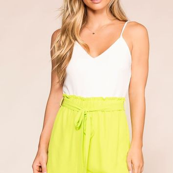 Hey Hi Hello Neon Lime Romper