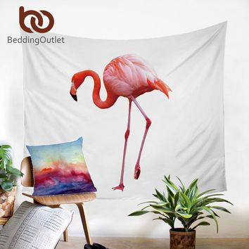 Pink Flamingo Tapestry White Wall Hanging Decor