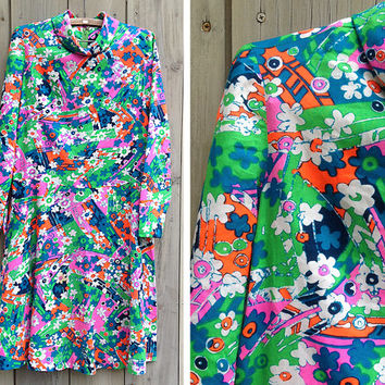Vintage dress | 60s 70s vintage Tanner of North Carolina mod psychedelic A line long sleeve shift dress