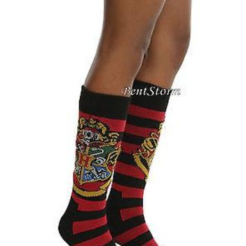 Licensed cool Harry Potter Hogwarts School Crest Striped Thick Knee-High Sweater Socks 1PR NEW