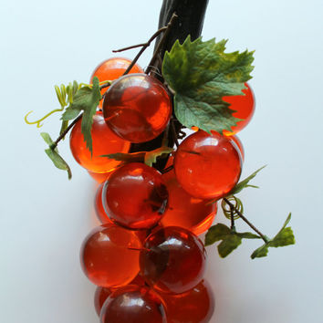 Vintage Orange Lucite Grape Cluster 1970s