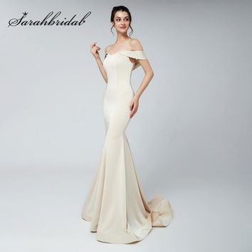 Sexy Off the Shoulder Evening Dresses 2018 Long Mermaid Pageant Dress Satin Sweep Train Fashion Women Prom Party Gowns OL559