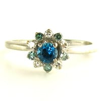 Blue Wonder: White and Blue Diamond Ring in White Gold