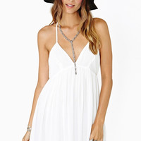 White Pleated Strappy Deep V-Neck Dress
