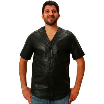 Mens Leather Shirt Black Baseball Jersey style Nappa Sheepskin Relaxed Fit