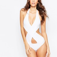 ASOS Halter Cross Wrap Front Swimsuit
